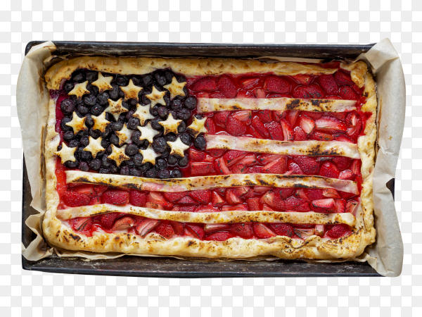 American flag painted on pie with strawberries and blueberries on transparent PNG