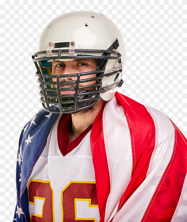 American football player with American flag on transparent PNG