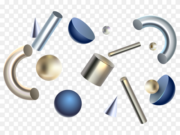 Anti gravity geometric shapes 3d effect vector PNG