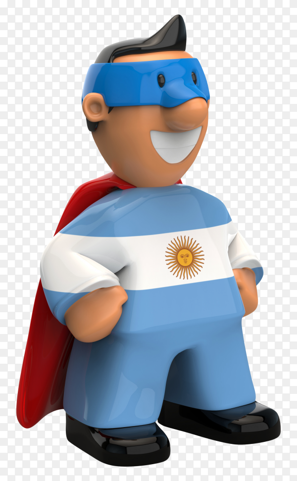 Argentina flag shaped on super hero on transparent background PNG