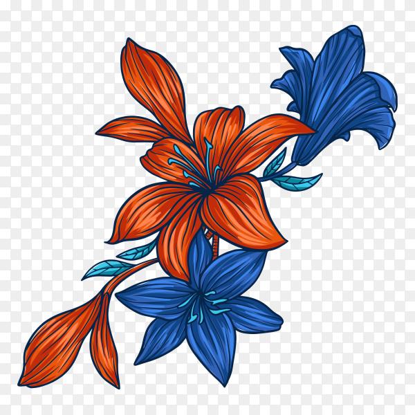 Autumn flower blue on transparent PNG