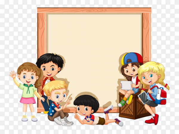 Banner with happy children on transparent background PNG