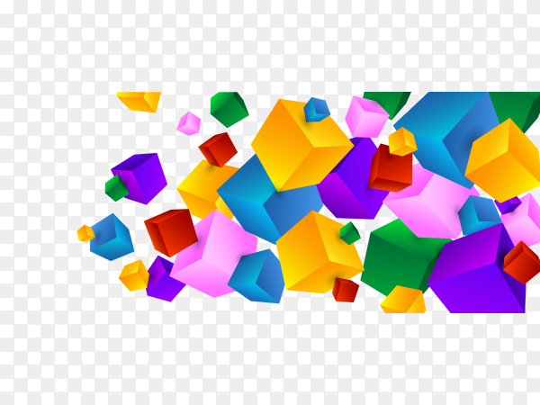 Beautiful colorful cubes vector PNG