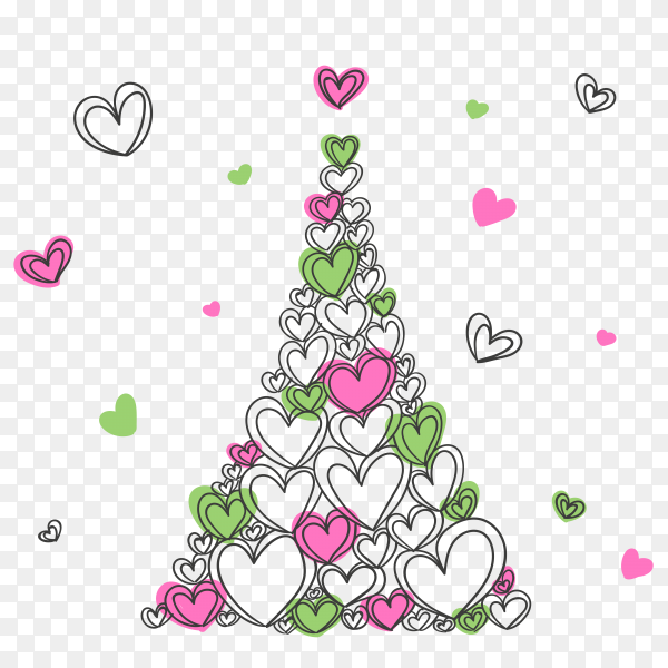 Beautiful colorful hearts shaped Eifel Tower clipart PNG