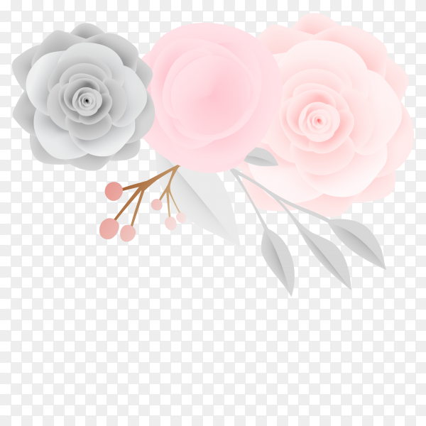 Beautiful floral paper art vector PNG