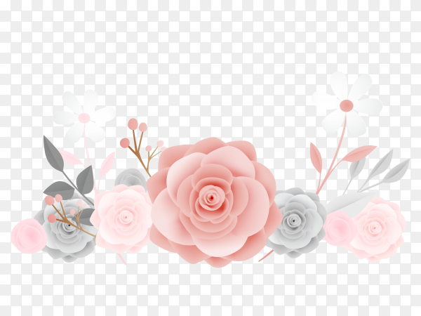 Beautiful folwers design on transparent PNG