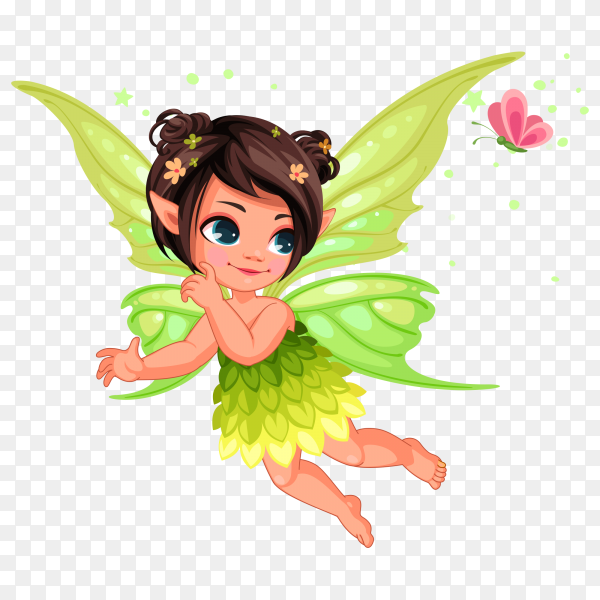 Beautiful little nature fairy cartoon on transparent PNG