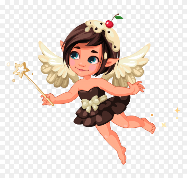 Beautiful little nature fairy cartoon on transparent background PNG