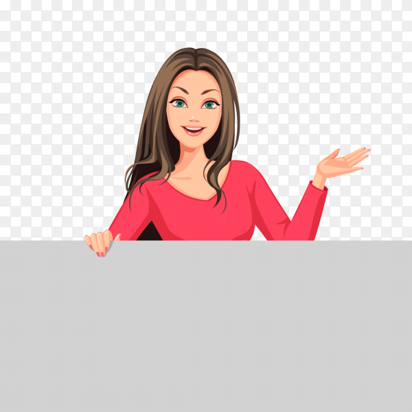 Beautiful women with board cartoon vector PNG
