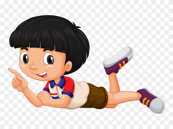Black hair boy point to something  vector PNG