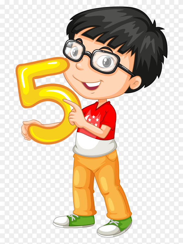 Boy holding number five on transparent background PNG