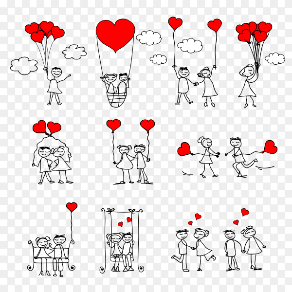 Cartoon Couple Doodle Red Heart Shape Clipart PNG