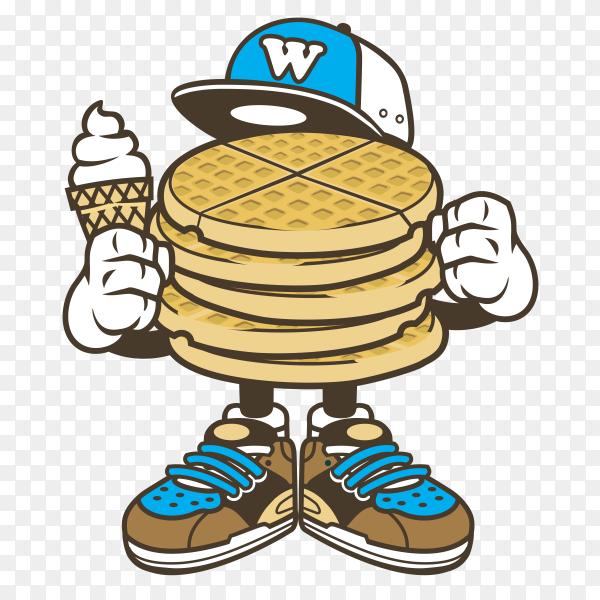 Cartoon Waffle Sticker Clipart PNG