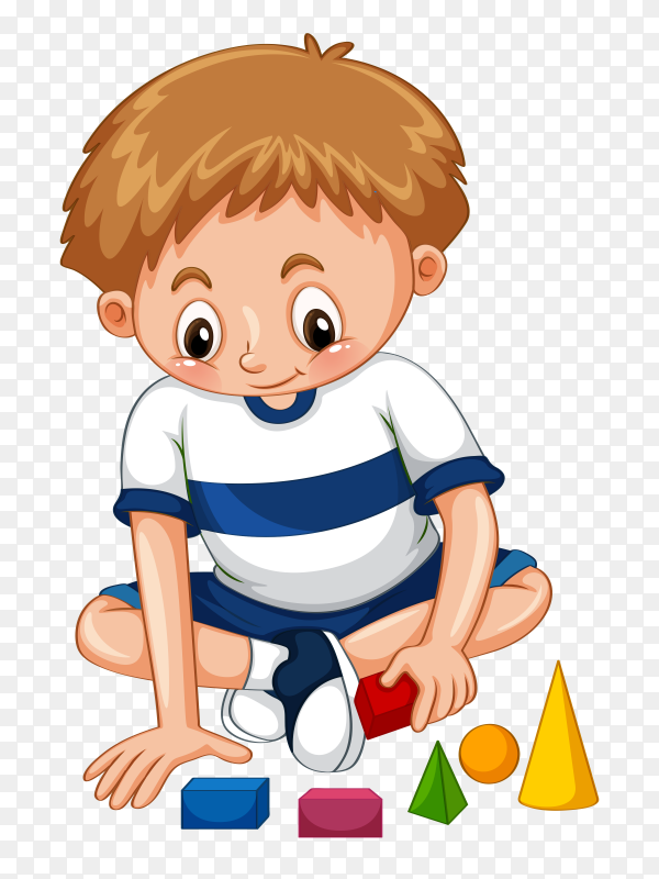 Cartoon boy playing with building blocks Premium Vector PNG