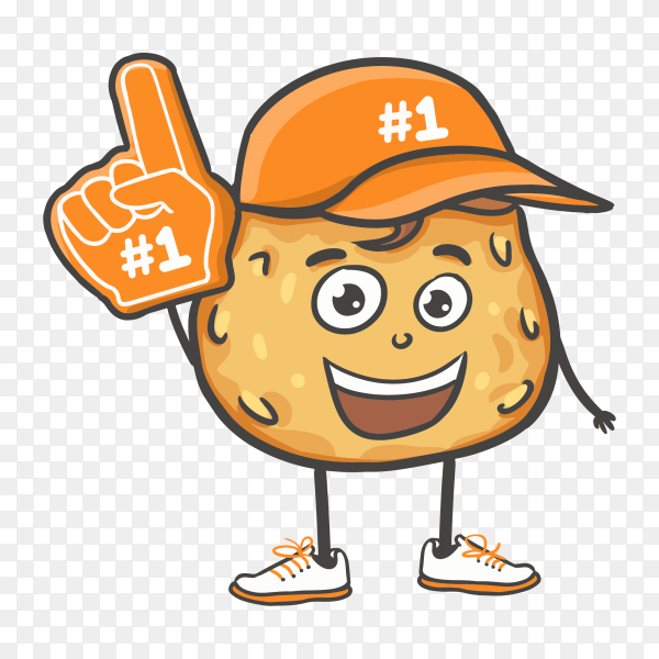 Cartoon doodle hand drawn cookies with number one fan hand glove vector PNG