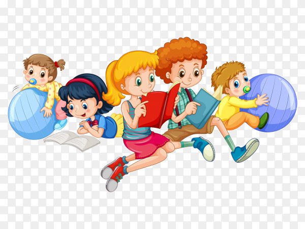 Children reading and playing with balls Clipart PNG