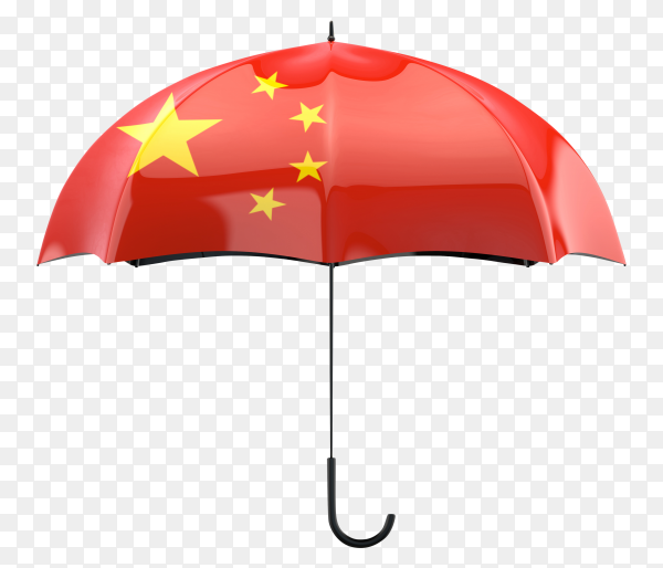 China flag shaped on an umbrella on transparent PNG