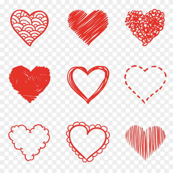 Collection of illustrated heart icons vector PNG