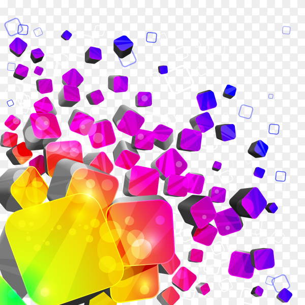Colorful 3d cubes with different sized cubes vector PNG