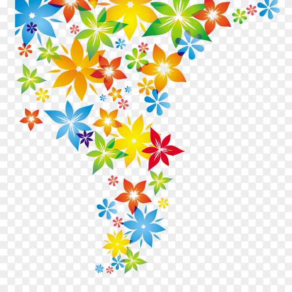 Colorful Folwers on transparent background PNG
