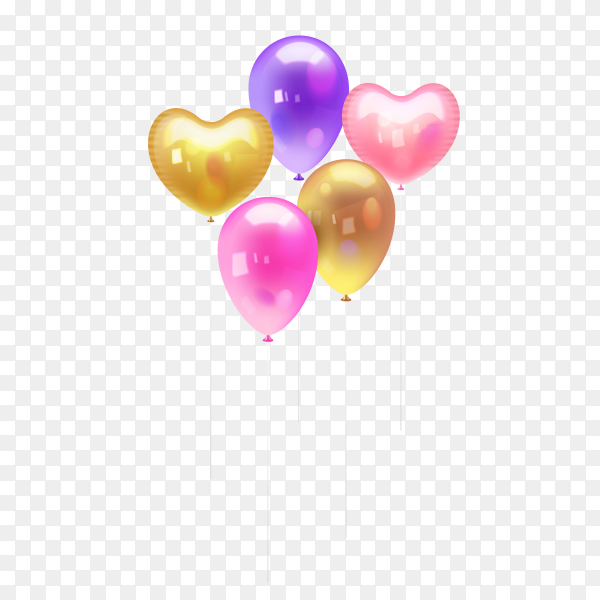 Colorful ballons on transparent PNG