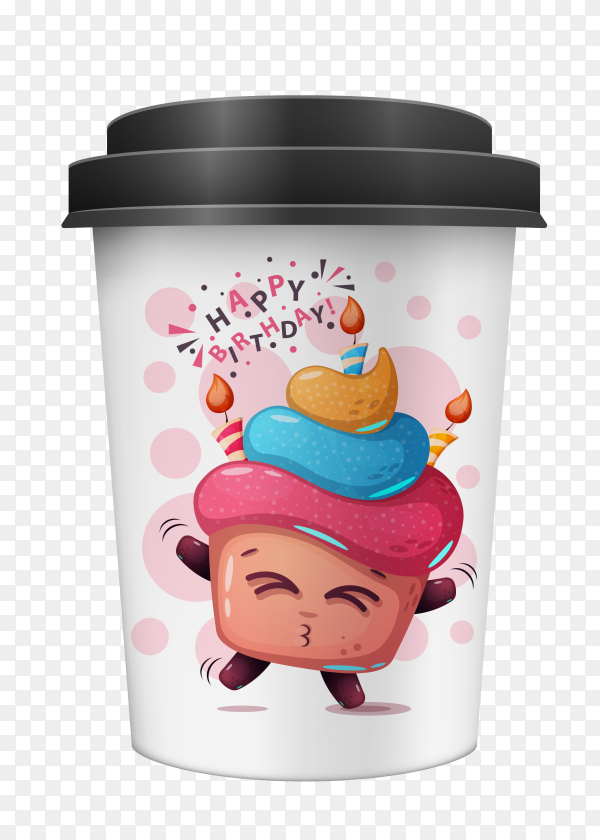 Cup painted cartoon happy birthday cake with three candle vector PNG