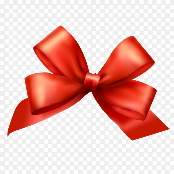 Cut red Ribbon and bow on transparent PNG