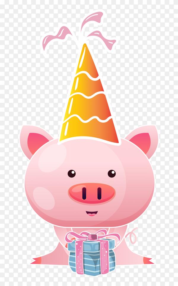 Cute baby pig cartoon clipart PNG