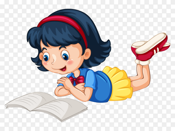 Cute girl reading book on transparent background PNG