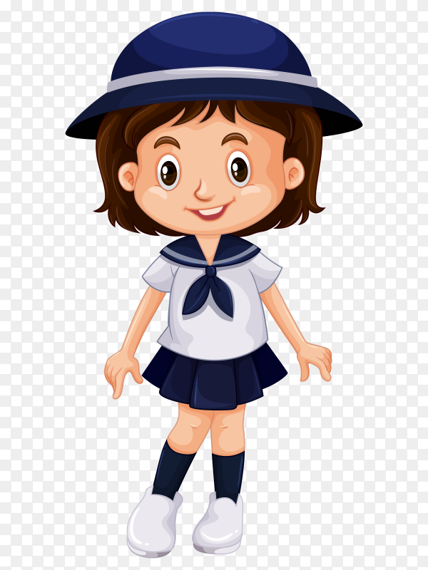 Cute girl with school uniform on transparent PNG
