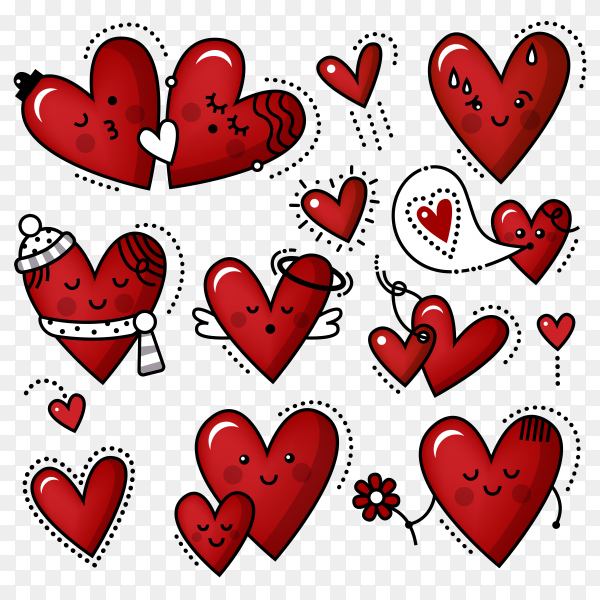 Cute hearts of red color of different shapes isolated Premium Vector PNG