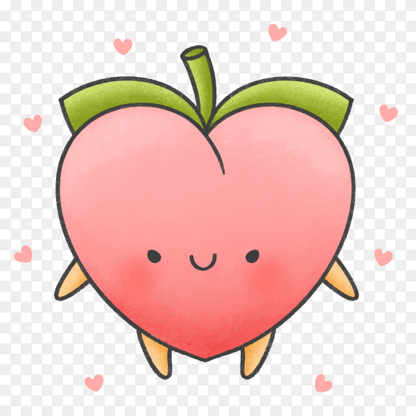 Cute peach cartoon hand drawn style Clipart PNG