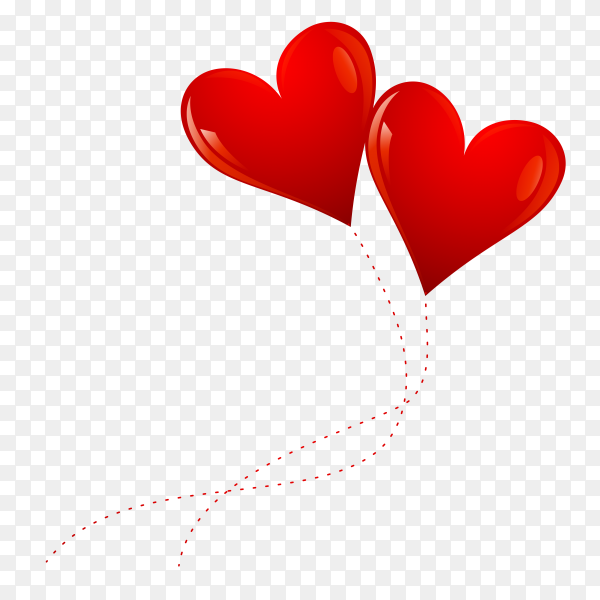 Cute red balloon hearts on transparent background PNG
