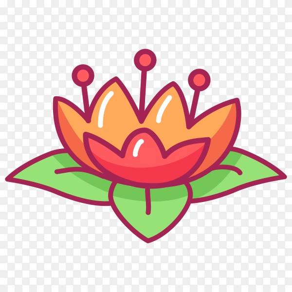 Cute red flower with leaves vector PNG
