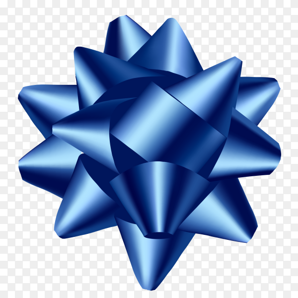 Decorative gift blue bow isolated clipart PNG