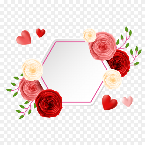Decorative red beautiful rose with card template Clipart PNG
