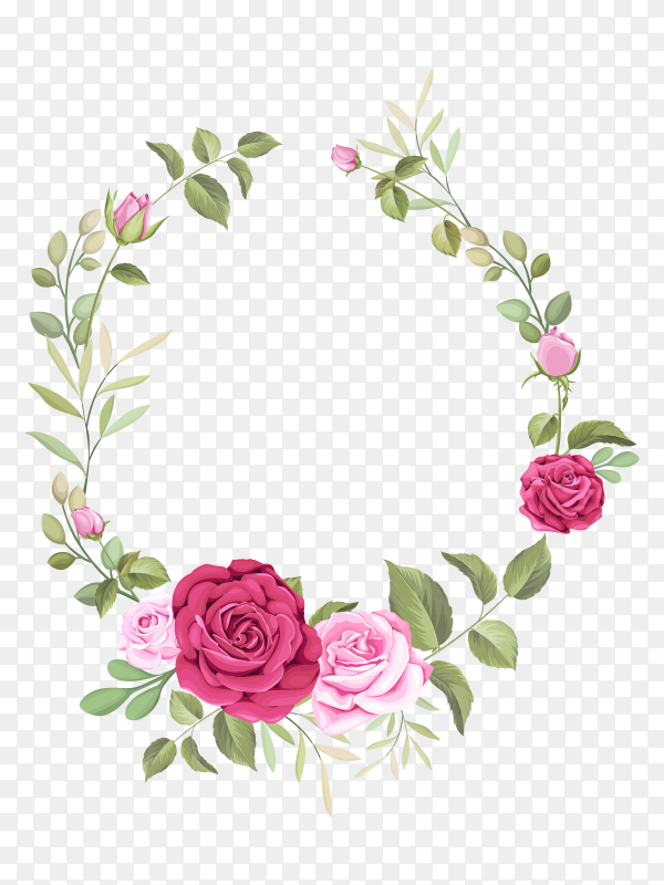 Elegant wedding card template with beautiful roses wreath vector PNG