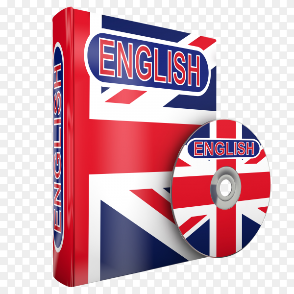 English course book and dvd on transparent PNG