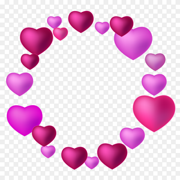 Fantastic Perpule hearts with different shapes Clipart PNG