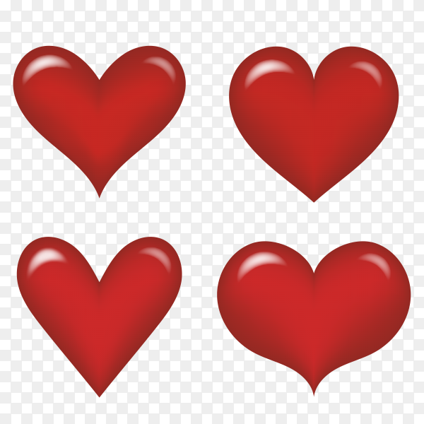 Fantastic red hearts with different shapes vector PNG