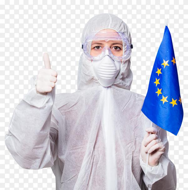 Female Doctor wearing glasses and face mask holding Eorop Flag premuim vector PNG