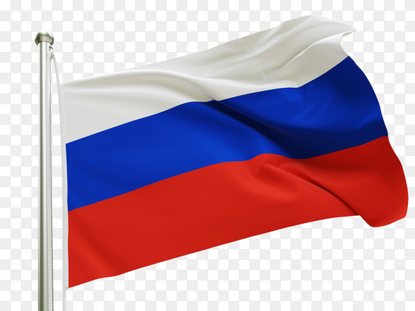 Flag Russia waving on transparent background PNG