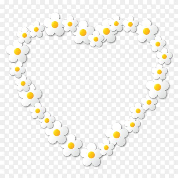 Flower heart design on transparent PNG