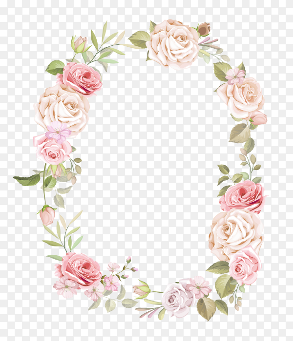 Flowers frame on transparent background PNG