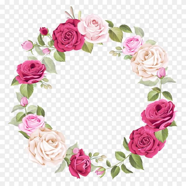 Frame with beautiful flowera leaves Clipart PNG