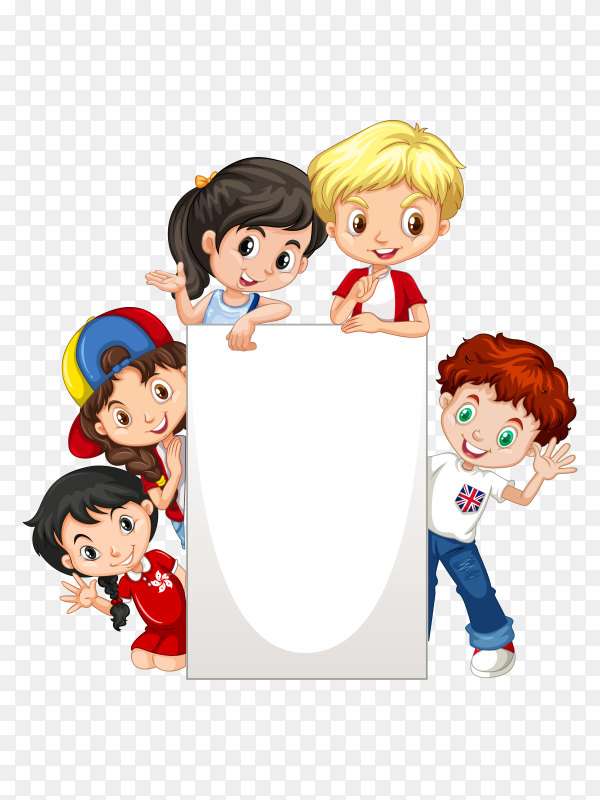 Frame with happy cartoon kids paper vector PNG