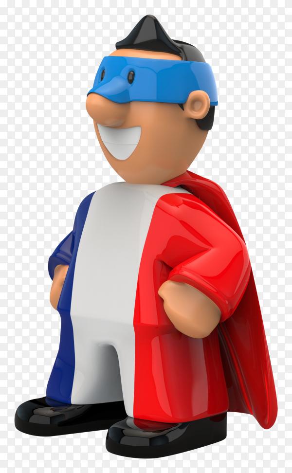 France flag shaped on super hero on transparent background PNG