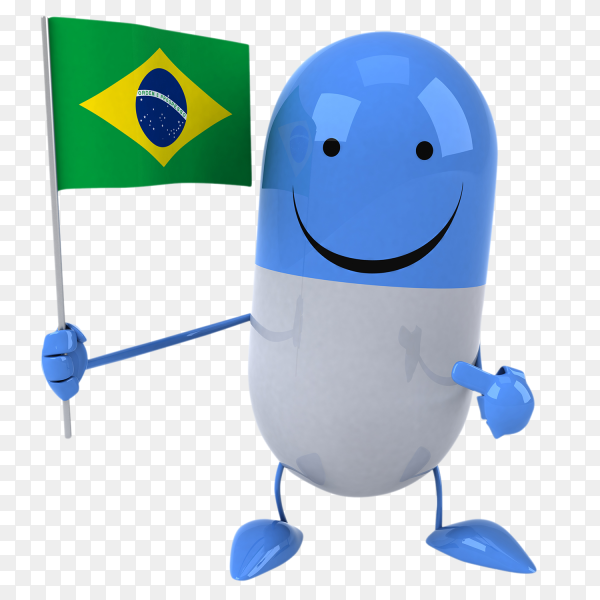 Funny Pill holding Brazilian flag on transparent background PNG