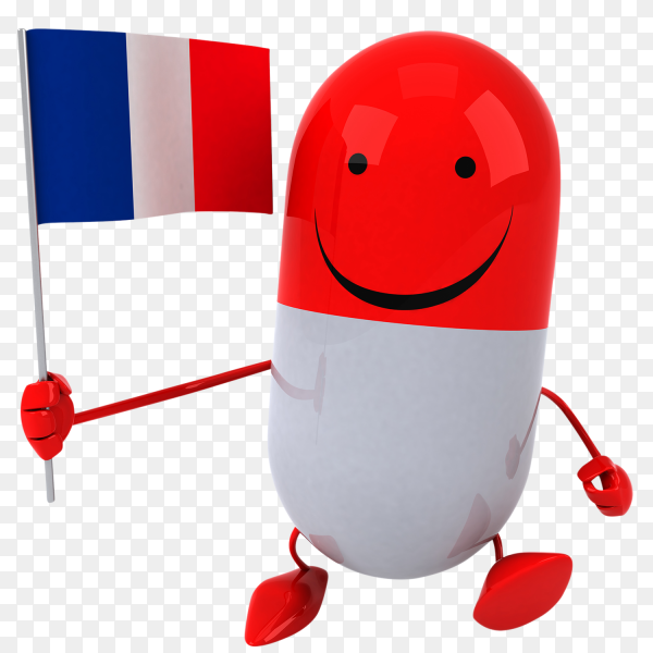 Funny Pill holding france flag on transparent background PNG