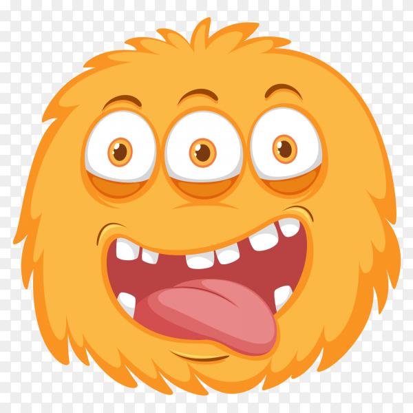 Funny orange monster on transparent PNG